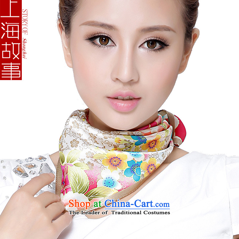 Shanghai Story sauna silk scarves small square cloths vocational silk scarf gold edge of Ms.