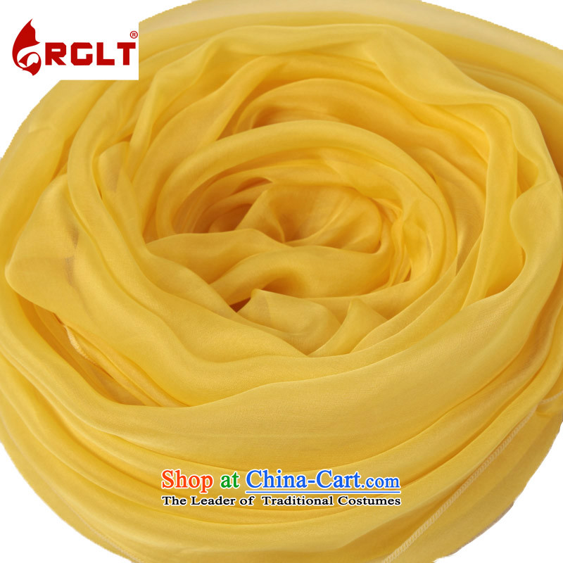 The extra-large 100% two meters long herbs extract 200*140CM widen the solid color silk scarf female diver silk scarves scarf time lemon yellow river - LH