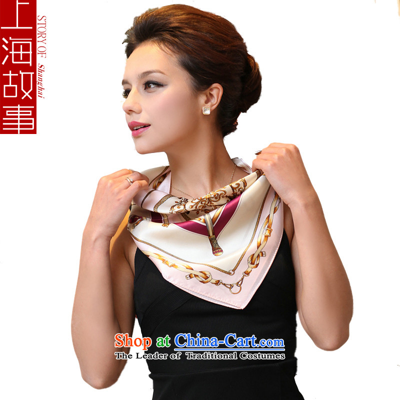Shanghai Story Western Chain herbs extract silk scarf silk small towel female pro-OL Western Wind - Pink