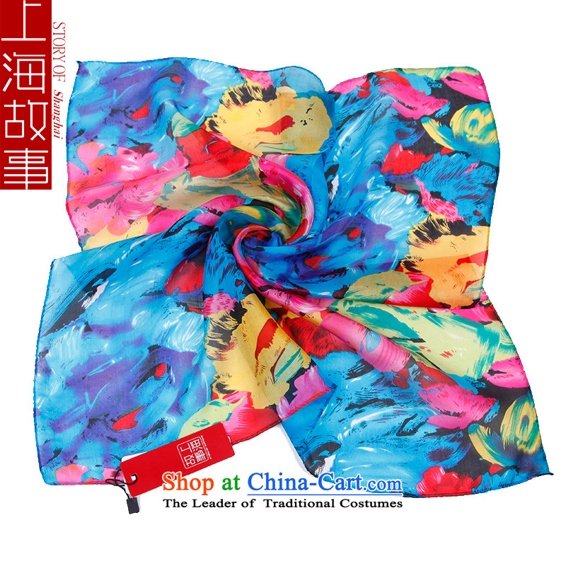 Shanghai Story silk scarves small towel vocational air hostesses silk scarf herbs extract scarf oil paintings, Blue