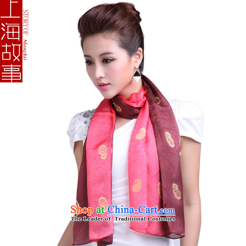 Shanghai Story sauna silk scarf gradient cashew silk scarves female long shawl two with red curry gradient