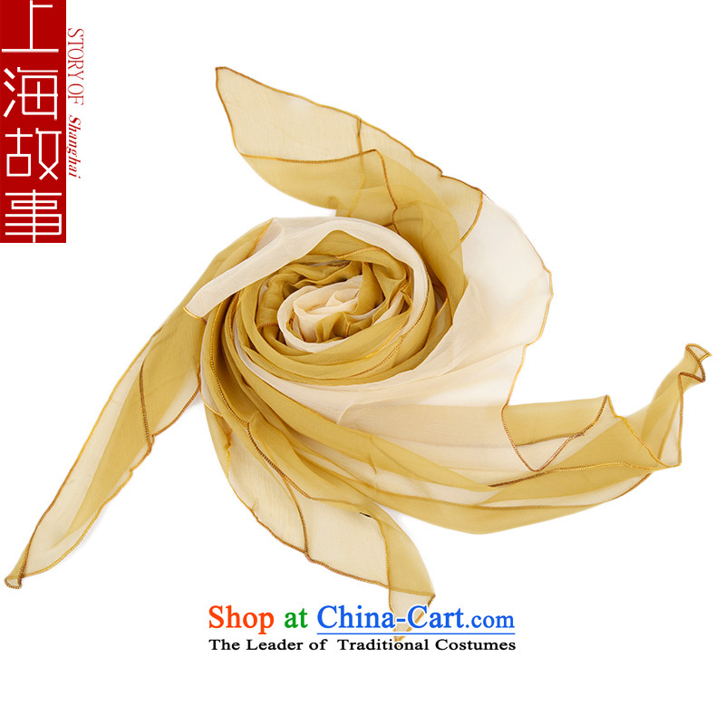 Shanghai Story silk scarves, widen the herbs extract autumn and winter female long silk scarfs yellow
