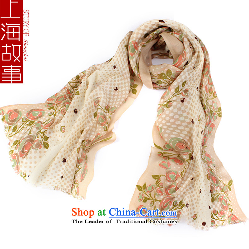 Shanghai Story Korean long warm wooler scarf Korean autumn and winter female flowers with two shawls - Beige