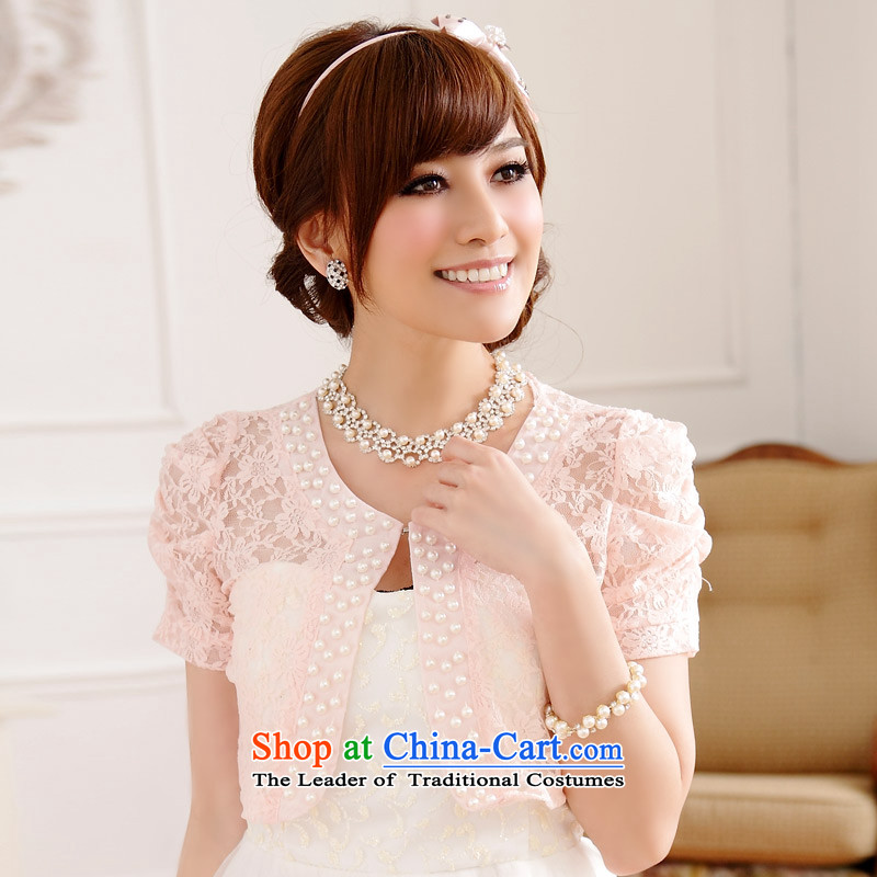 With sweet Jk2.yy wild lace short-sleeved shirt cardigan summer air-conditioning thick MM small jacket shawlJ9612pinkXXL