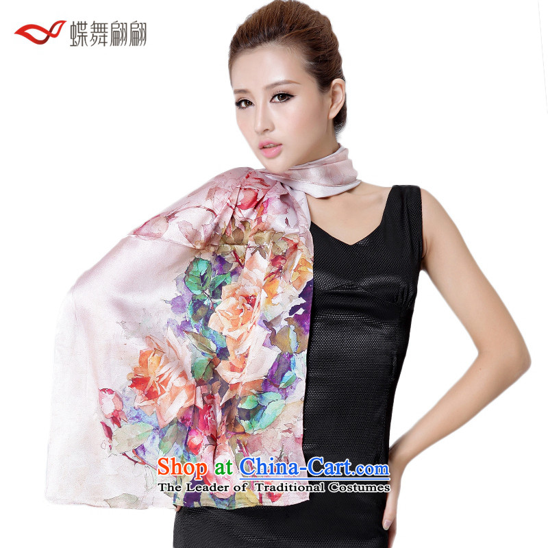 The Butterfly Dance medley of color Tianxiang silk scarves female autumn herbs extract scarf warm shawl9# pink roses