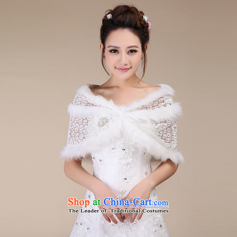 Embroidered is the new Marriage bride 2015 wedding dresses lace qipao gross shawl m White