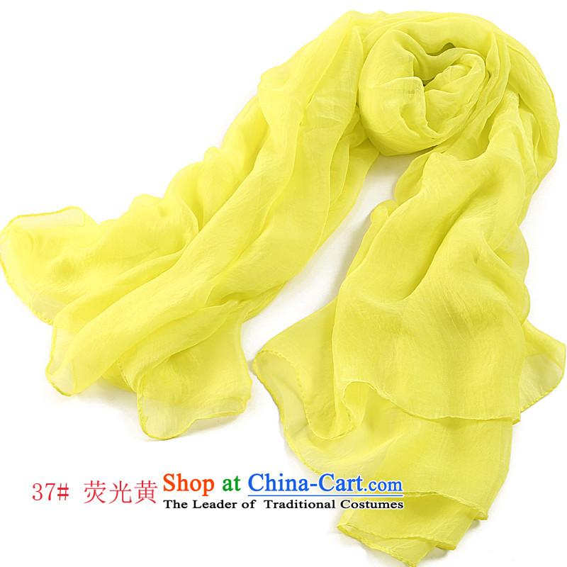 The World card silk scarf of female summer Korean wild candy chiffon colored silk gittoes silk chiffon oversize large shawl scarf sunscreen outdoor beach towel6021 Fluorescent Yellow 37#