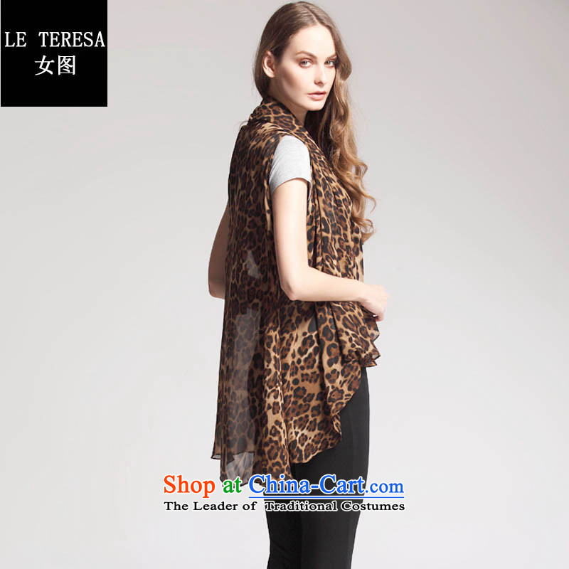 Female figure leteresa spring, summer, autumn and women's large relaxd chiffon shirt with scarves Leopard Color Code