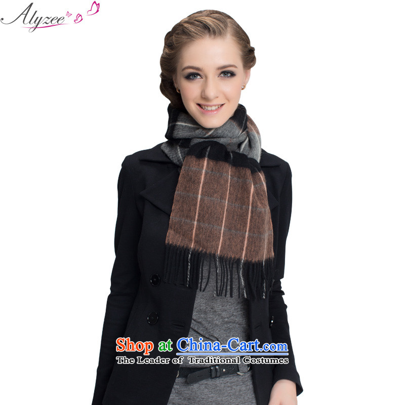 The situation of the champs alyzee Classic Grid Fancy Scarf warm thick retro England scarf silk scarf of men and women in gray orange