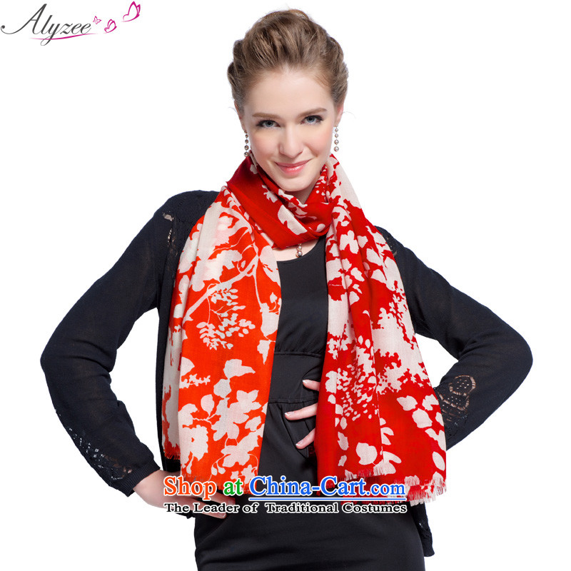 The situation of the champs alyzee autumn and winter of Australian imports new wool stunning ultra-long Ms. Stamp Warm Orange Scarf