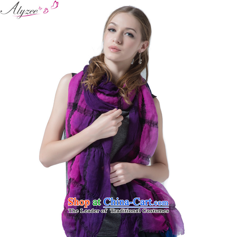 The Alice in European boutique warm winter large scarf wool stamp grid a new deep purple