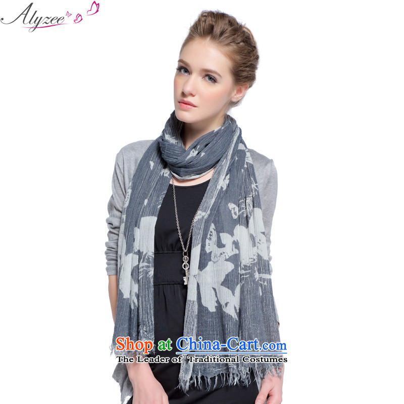 The situation of the champs alyzee autumn and winter new large Ms. warm scarf butterfly stamp creases long Fancy Scarf, blue-gray