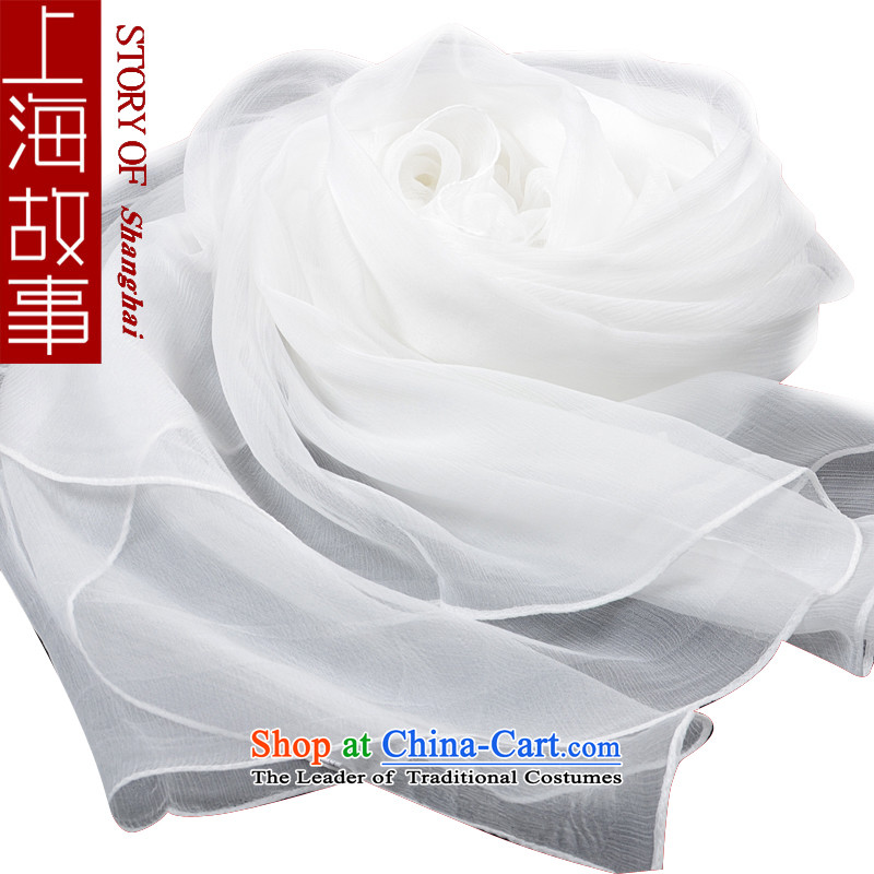 Shanghai Story silk scarves, Solid Color scarves, a long winter herbs extract silk White