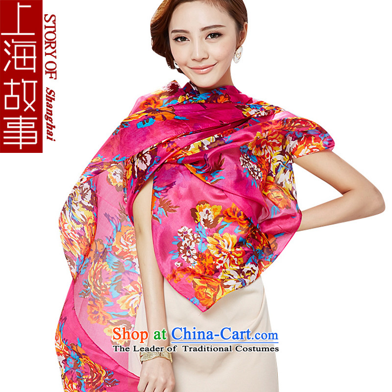 Shanghai Story silk scarves female long oversized Fancy Scarf two of the history of the Red Flower herbs extract