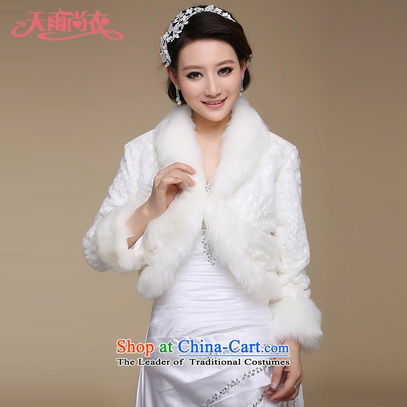 Rain was married to warm white Yi Long winter shawl bride long-sleeved shawl wedding dresses qipao shawl聽PJ042聽m White