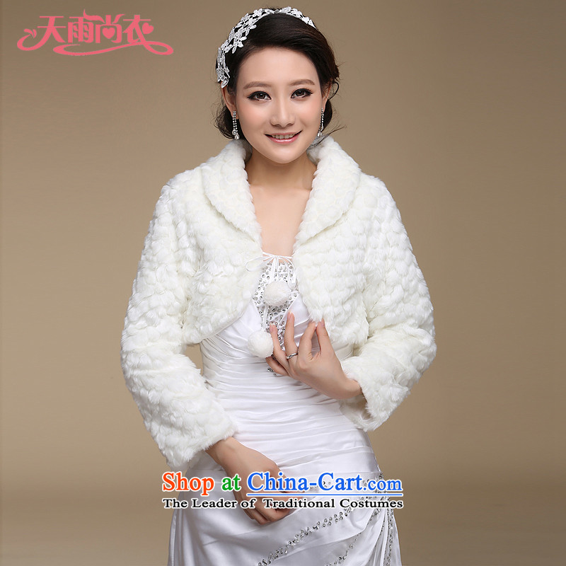 Rain Coat bride shawl yet small jacket marriage wedding gross shawl white bridesmaid shawl winter long-sleeved Algeria PJ067 shawl m White Sub