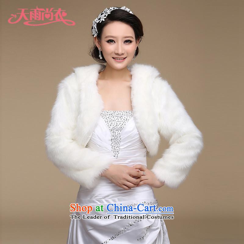 Rain still warm winter clothing marriage wedding dress shawl bridesmaid shawl gross long-sleeved long hairs and sub-bride white cape PJ068 m White