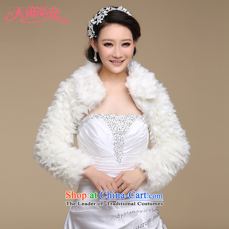 Rain was Yi marriages jacket wedding dress shawl warm winter plush Kampala shoulder long-sleeved shawl PJ069 gross m White