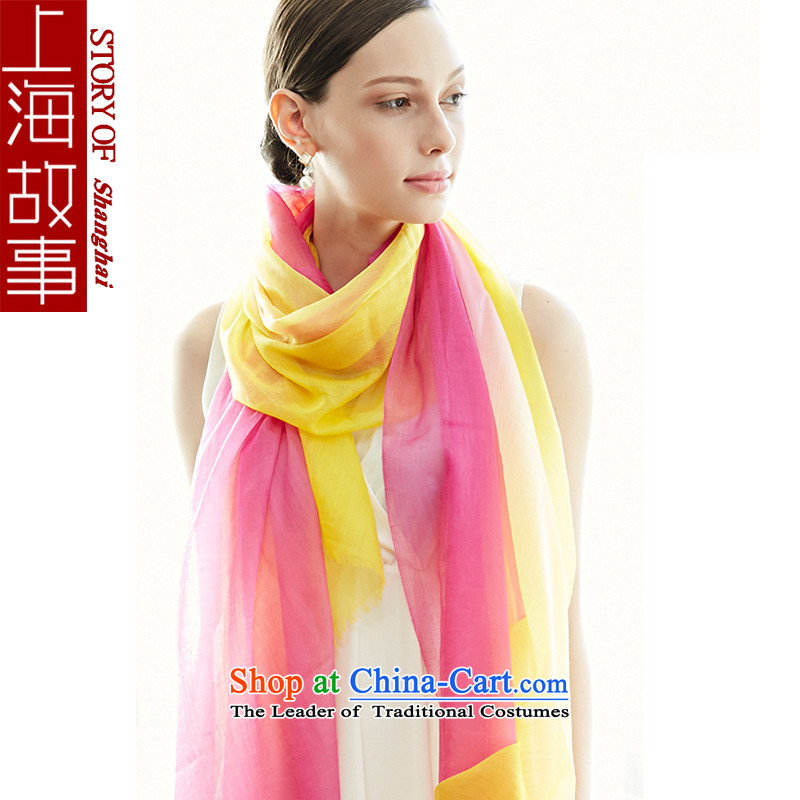 Shanghai Story pashmina shawl gradient female autumn warm winter pure color gradient of upscale red and yellow