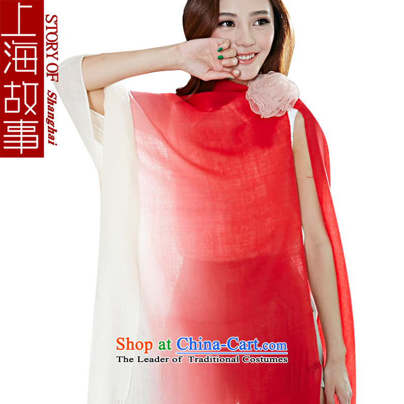 Shanghai Story 2015 new Korean Pure Wool scarves, solid color gradient long spring and fall shawl m red gradient