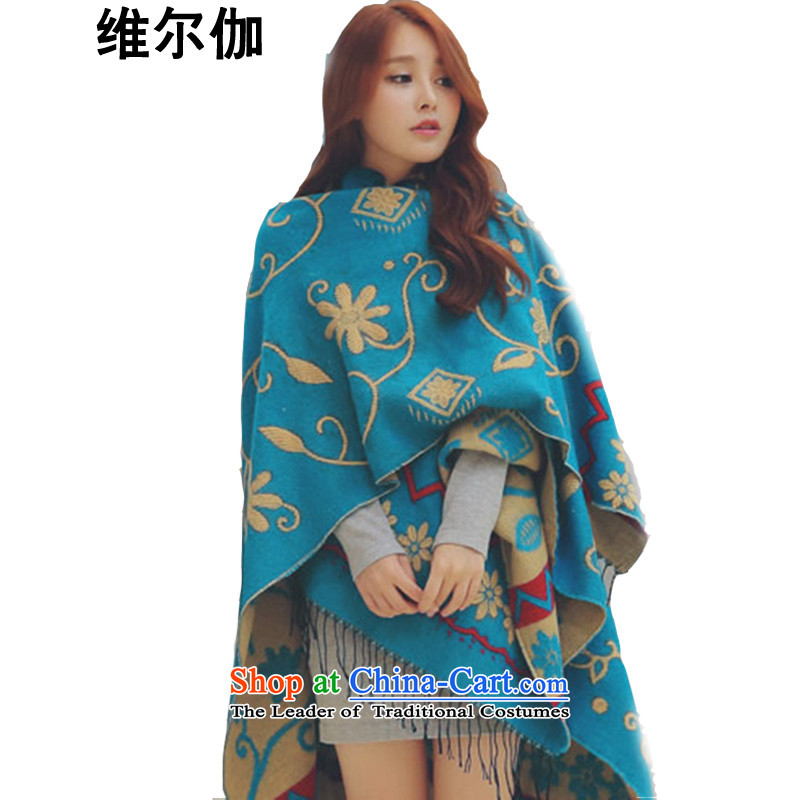 D gamma  2015 autumn and winter new Korean version 2-sided jacquard ethnic thick shawl two female W8029 scarves with a soft ethnic blue