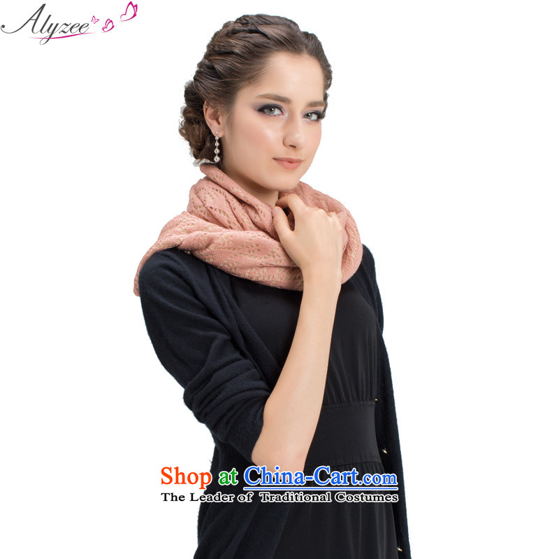 The situation of the champs alyzee autumn and winter new double knit stitching maxi stylish Fancy Scarf two with Gray Pink