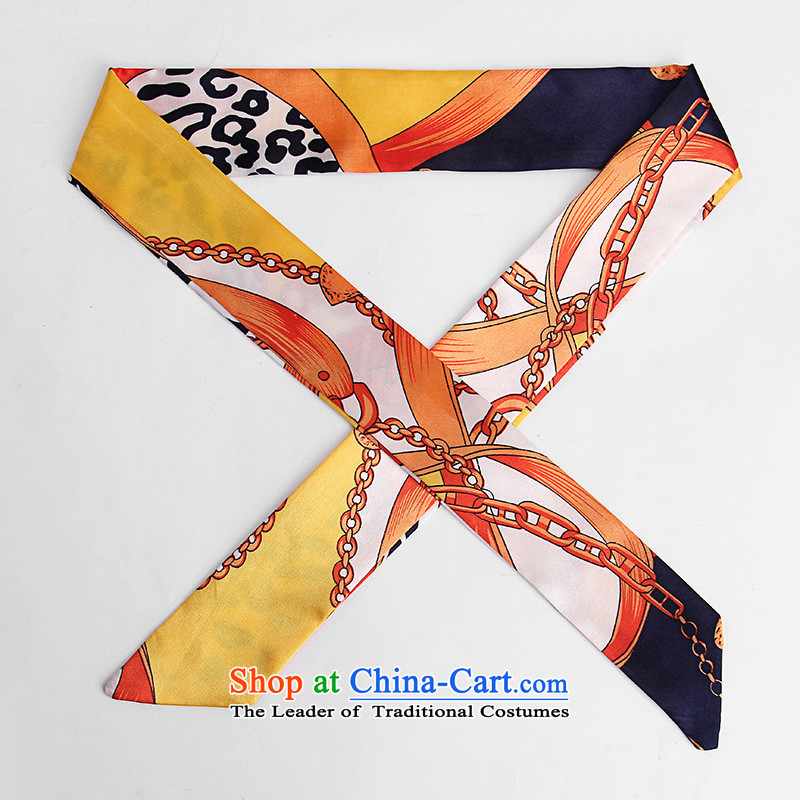 Heart Hailanghua Factory Outlet H emulation is wrapped around silk scarf bind packages handle silk scarf small ribbon scarf package with Ms. ribbons turban X51 yellow orange