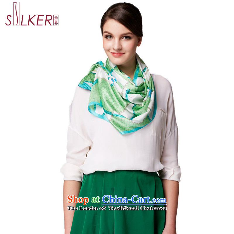 The population sector Ms. SIGI long silk herbs extract silk scarf stylish geometric scarf fourth quarter when universal d march green trendy new)
