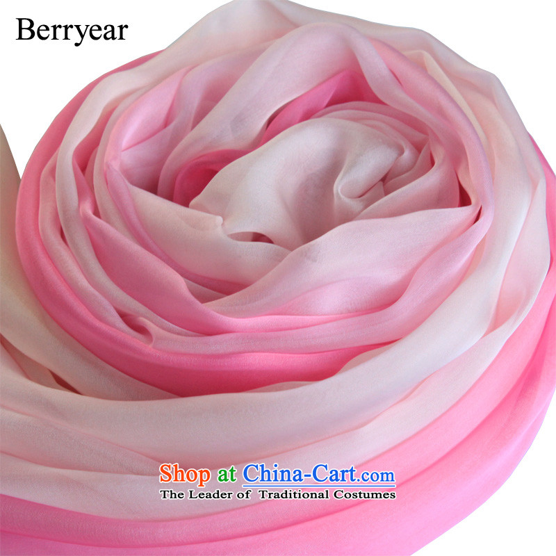 The pink color gradient berryear upscale silk scarfs female spring and autumn wild herbs extract long silk scarf shawl200*130CM