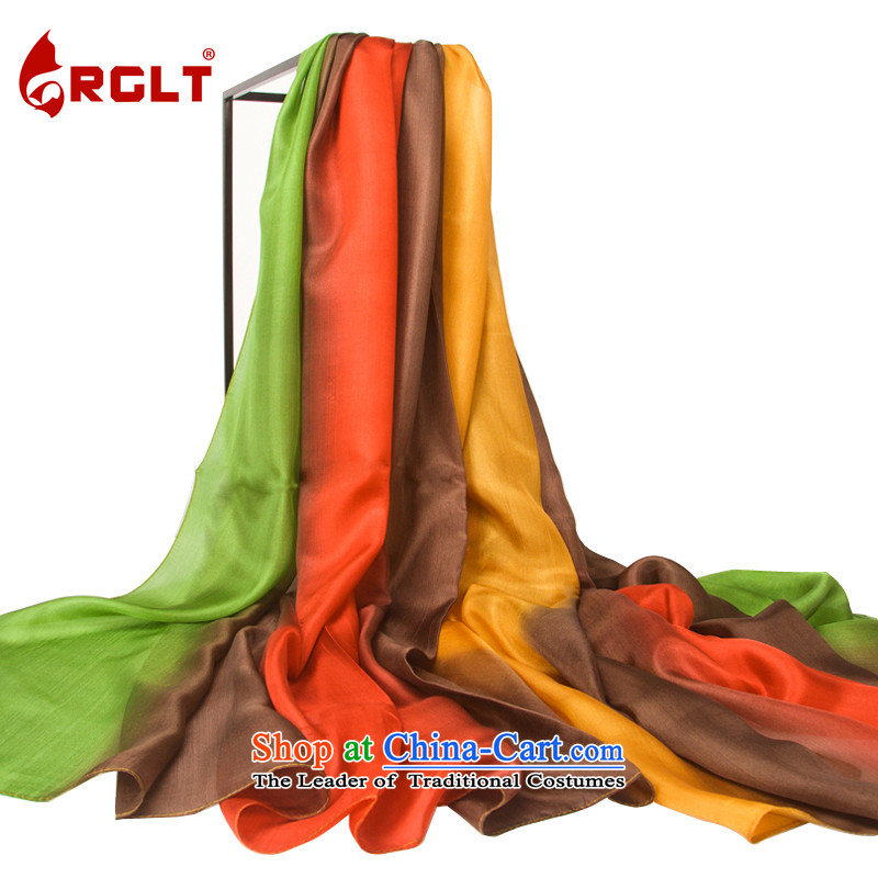 Rui, Gift Box 100 herbs extract Ms. hand-painted silk scarves long towel gradient duet songs string quartet shawl songs - yellow and green gradient LH