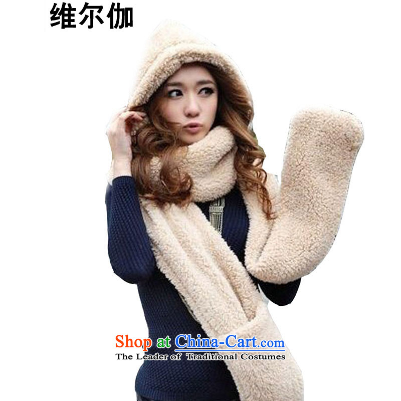 D gamma 2015 Fall/Winter Collections new Korean Knitted Hats gloves all-in-one color photo of female W8032 scarf
