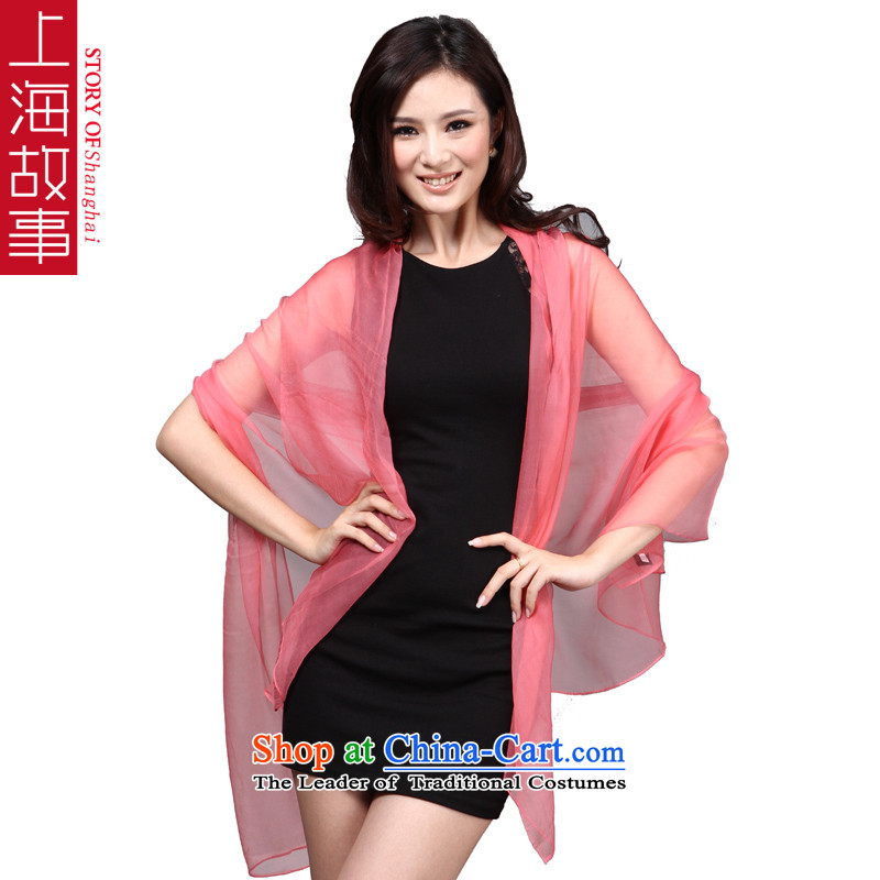 Shanghai Story silk herbs extract long towel Fancy Scarf use two large sunscreen scarves shawl ocean woven pure PIGMENT COLOR wild ocean woven watermelon red