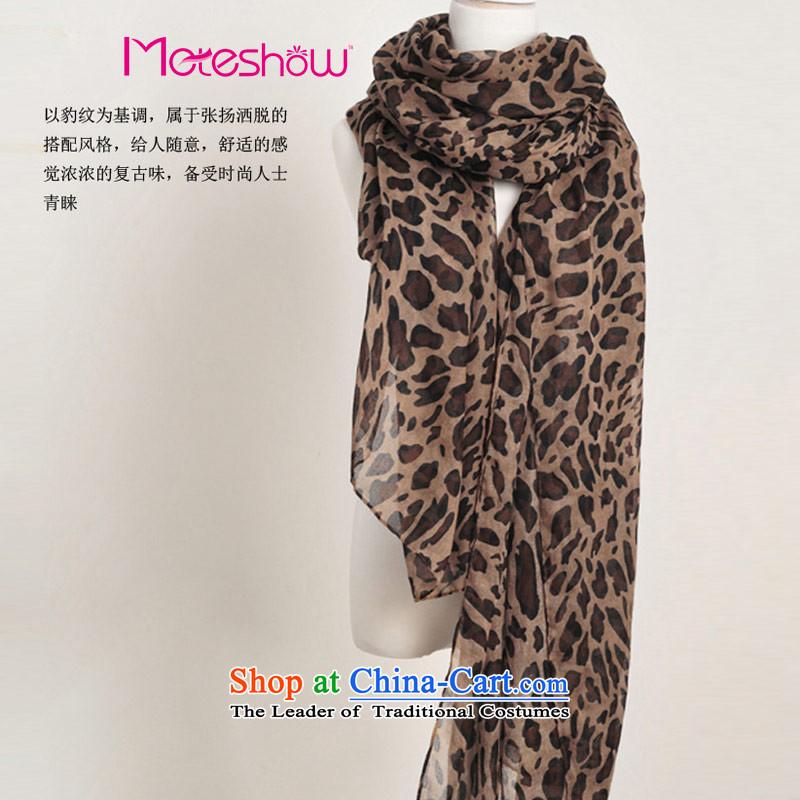 Honey-yi new paragraph at Amoy Western trendy leopard silk scarf chiffon scarf female shawl Tan