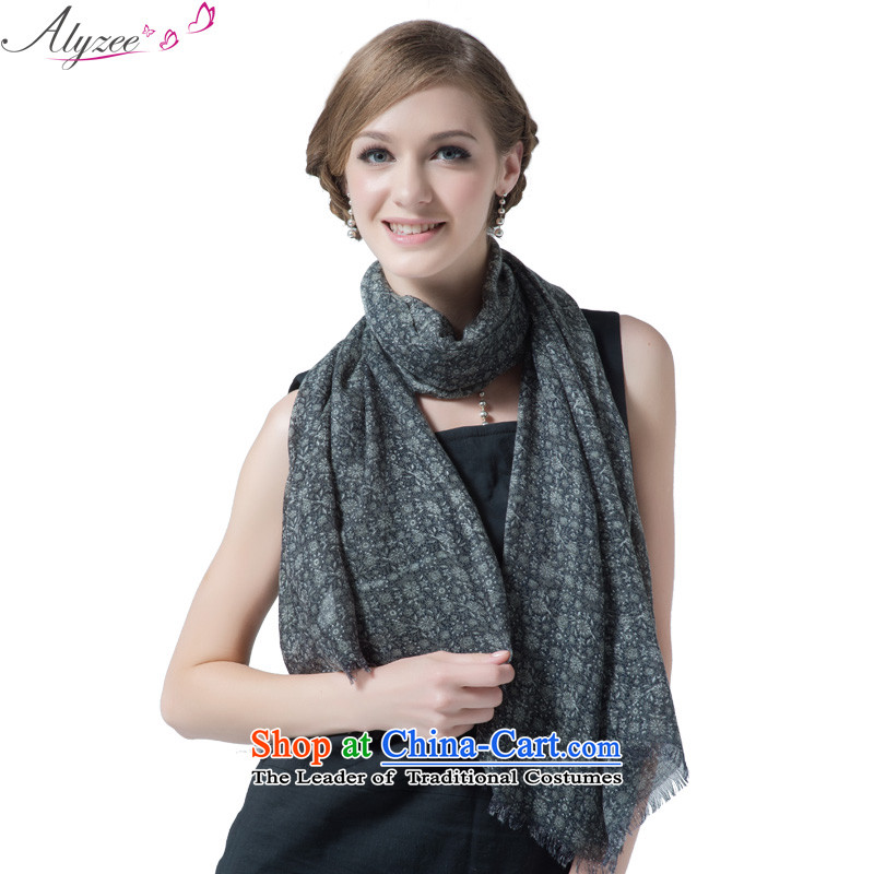 The situation of the champs alyzee spring and summer new women's small saika stamp breathable oversized shawl blue scarf