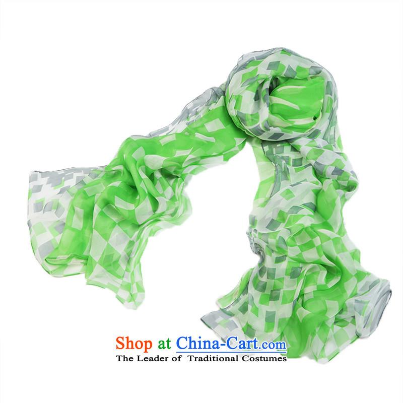 Hsitzu Hong silk scarves Women intensify herbs extract silk scarves scarf extension women cape two with geometric green