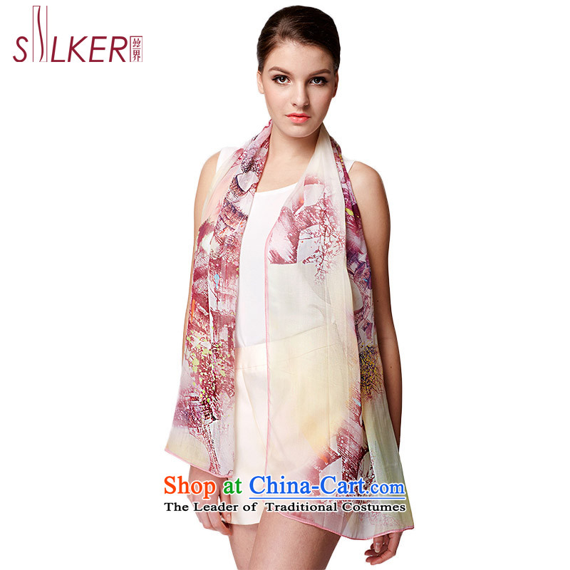 The population of SIGI spring and summer new silk scarves Korean modern stamp scarf gliding herbs extract air-conditioning shawl Dan lip-by-m Purple trendy new laugh)