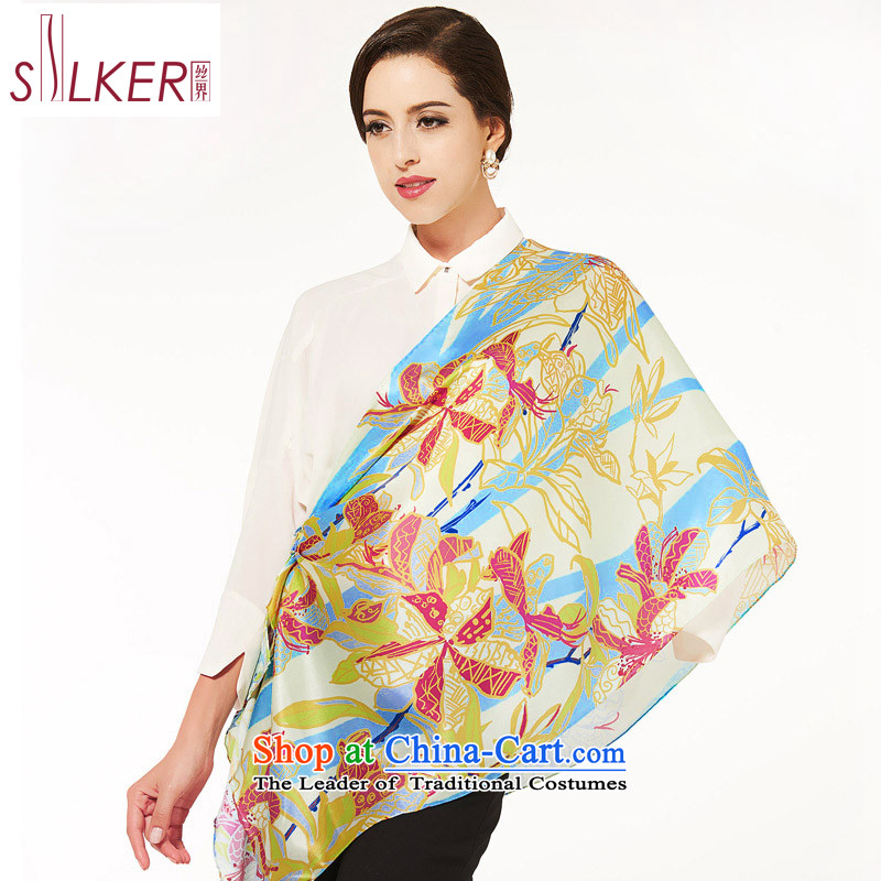 The population sector SIGI2014 autumn and winter new upscale silk herbs extract gift silk scarf scarves with incense dance gift lake blue