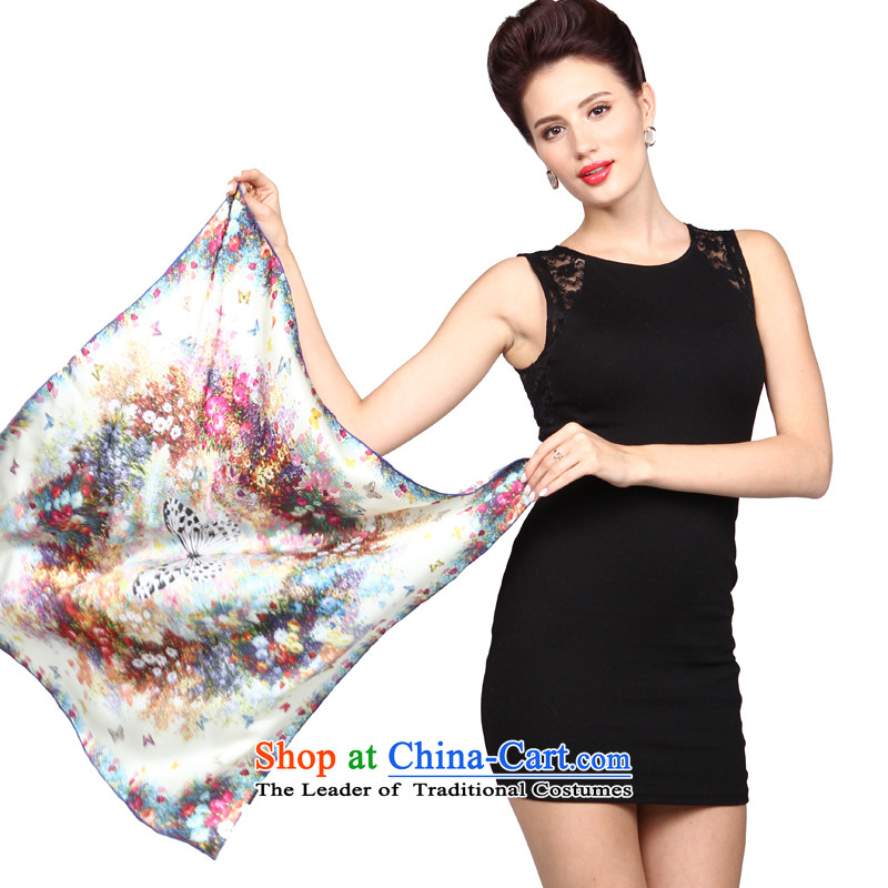 Shanghai Story silk scarves herbs extract scarf of Ms. upscale small towel career damask square flower butterfly Wong