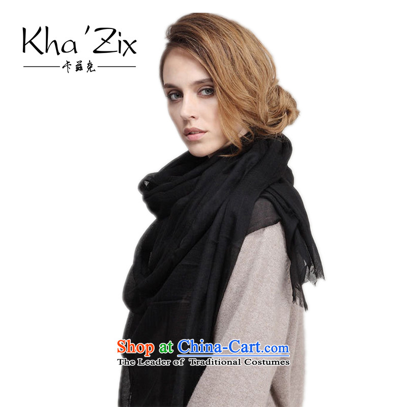 The end of the scarf womens kha'zix autumn and winter new pixel color woolen scarves Ms. men with two shawls Australian woolKZ808 warmblack