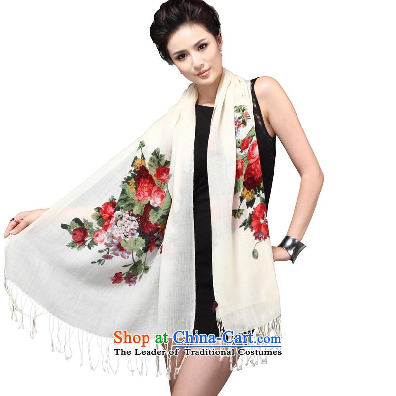 Shanghai Story scarves, autumn and winter season long contemptuous of female Mudan import plain wool quilts Fancy Scarf4313a contemptuous of Mudan - m White