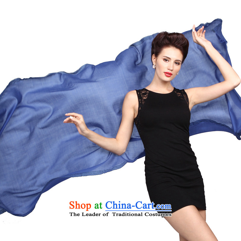 Shanghai Story Phnom Penh of color solid color woolen scarves warm shawl use two Phnom Penh - Blue