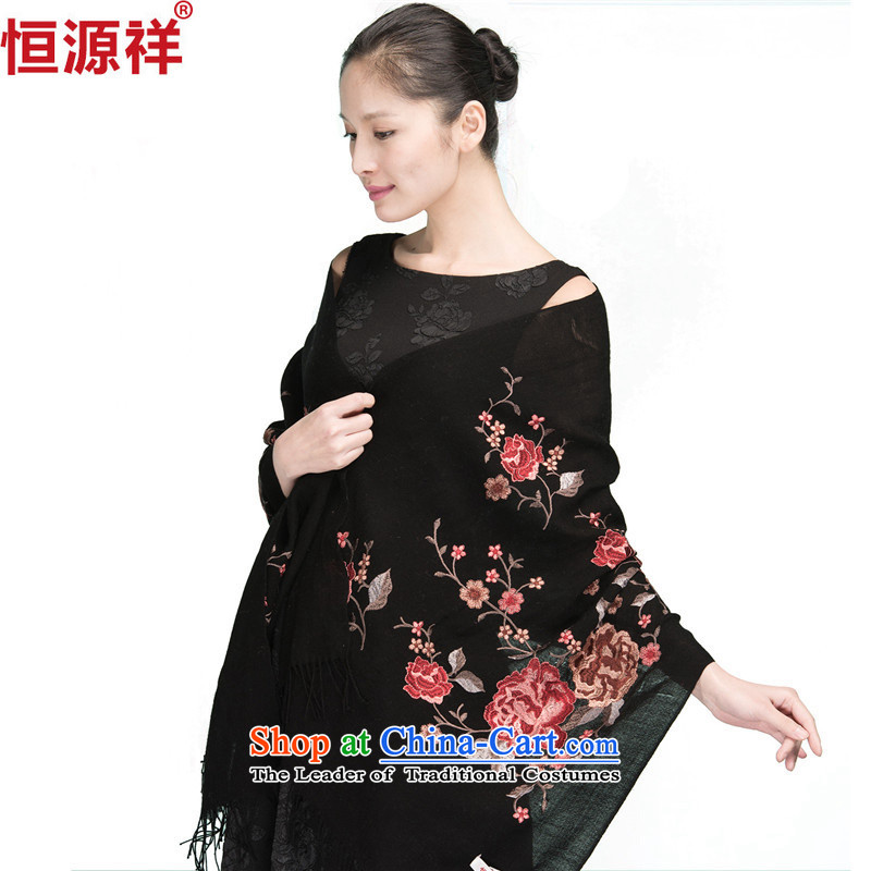 Hengyuan Cheung of autumn and winter, wool scarf female long China wind Warm Big shawl dual-use4# black