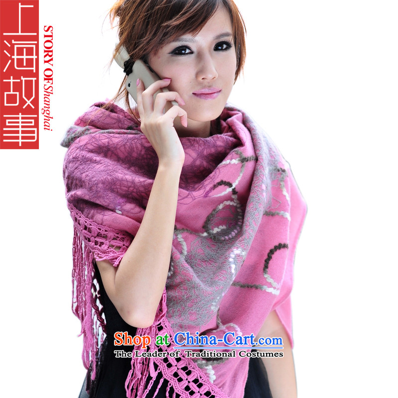 Shanghai Story Pure Wool scarves, high-thick wool embroidery on winter warm shawl 19Pink