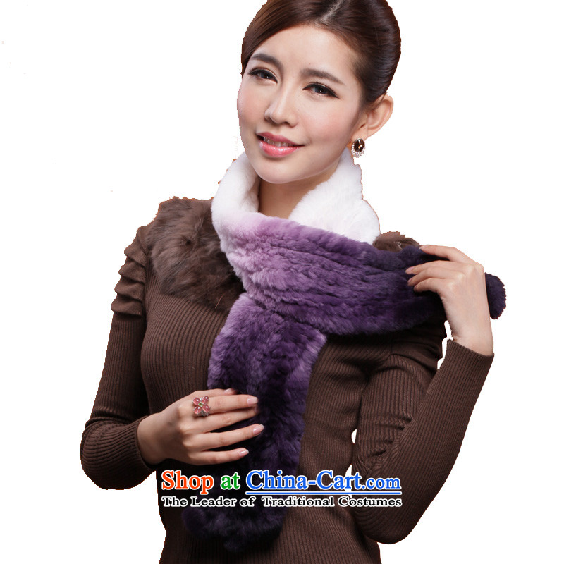 I know the process of fur and woolen cravat gradient scarf hand-woven of rabbit hair a 3126 violet gradient