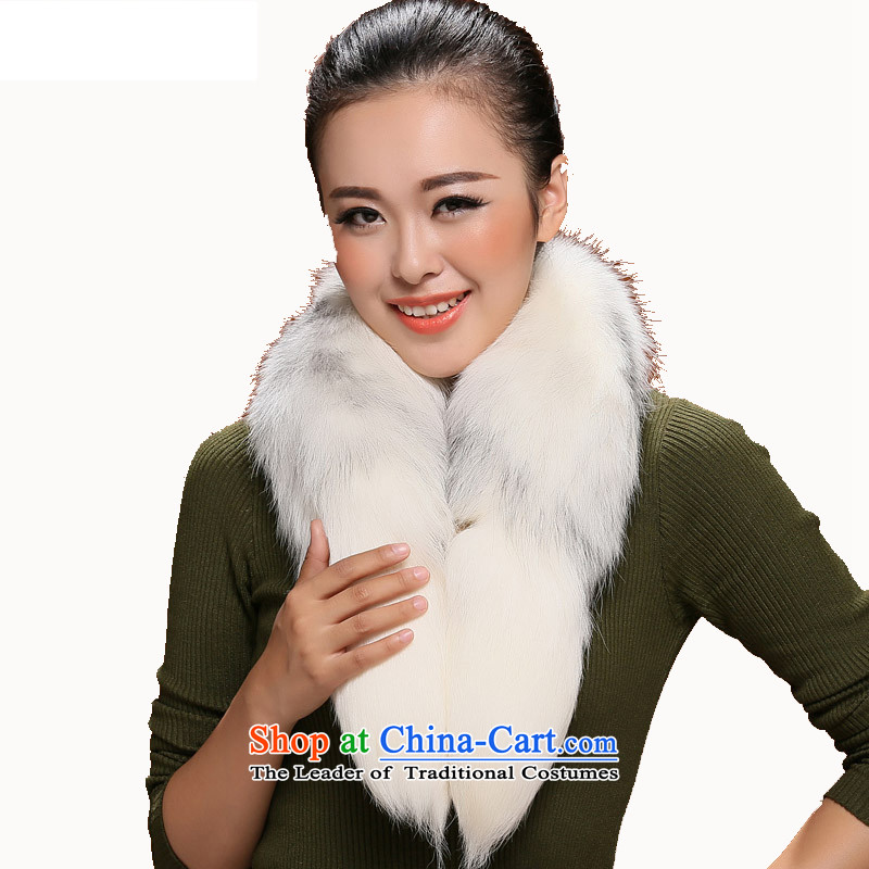 I know the superficial luxurious goods fox woolen cravat nicely Nagymaros Ms. for warm winter stylish and classy gifts mandatory White
