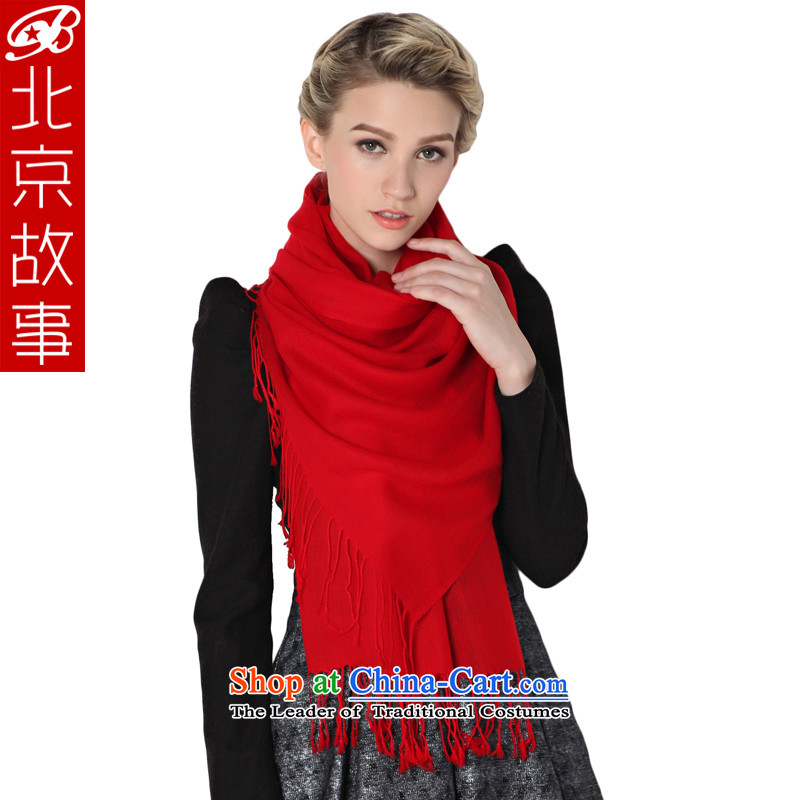 Beijing stories warm winter thick wool scarf Ms. Winter Korean female pure color Fancy Scarf couples, Red