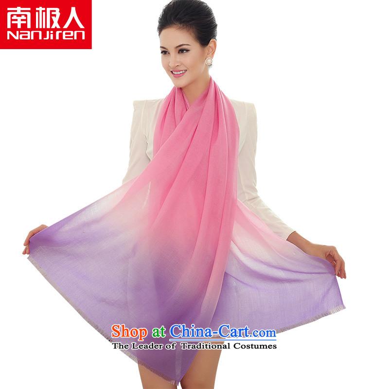 Antarctic nanjiren (gross) Ms. plain color gradient woolen scarves shawl a dual-use-long pink Purple