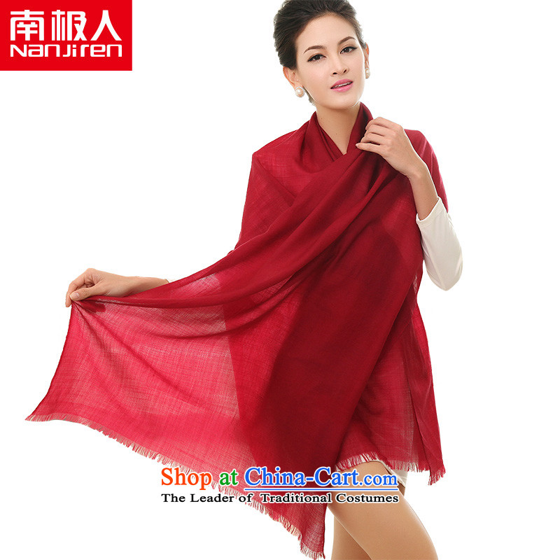 The Antarctic (nanjiren) Ms. wooler scarf extralong pixel color shawl a dual-use, dark red scarf