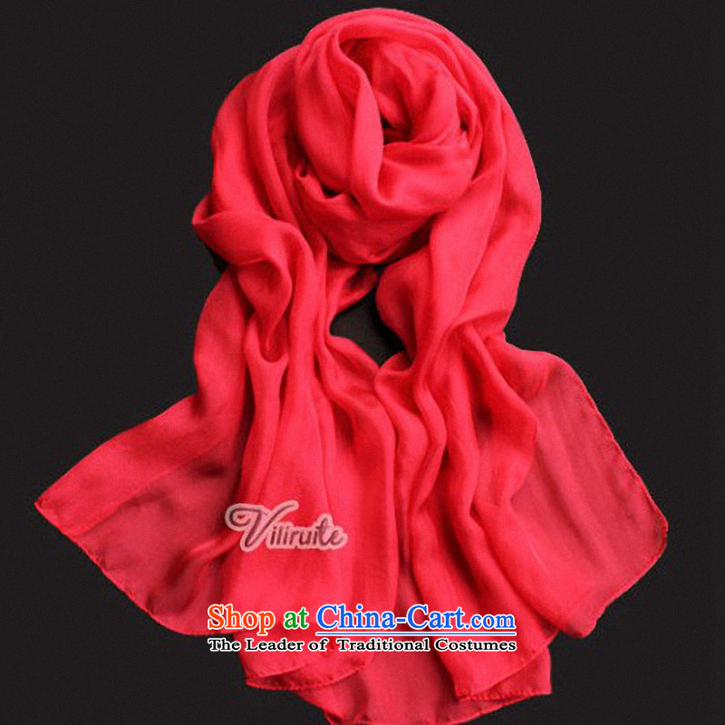 D Li Rui AD聽100_ silk scarves long towel scarf female shawl Pure pigment color silk scarf scarf herbs extract super long 10 Colors option red