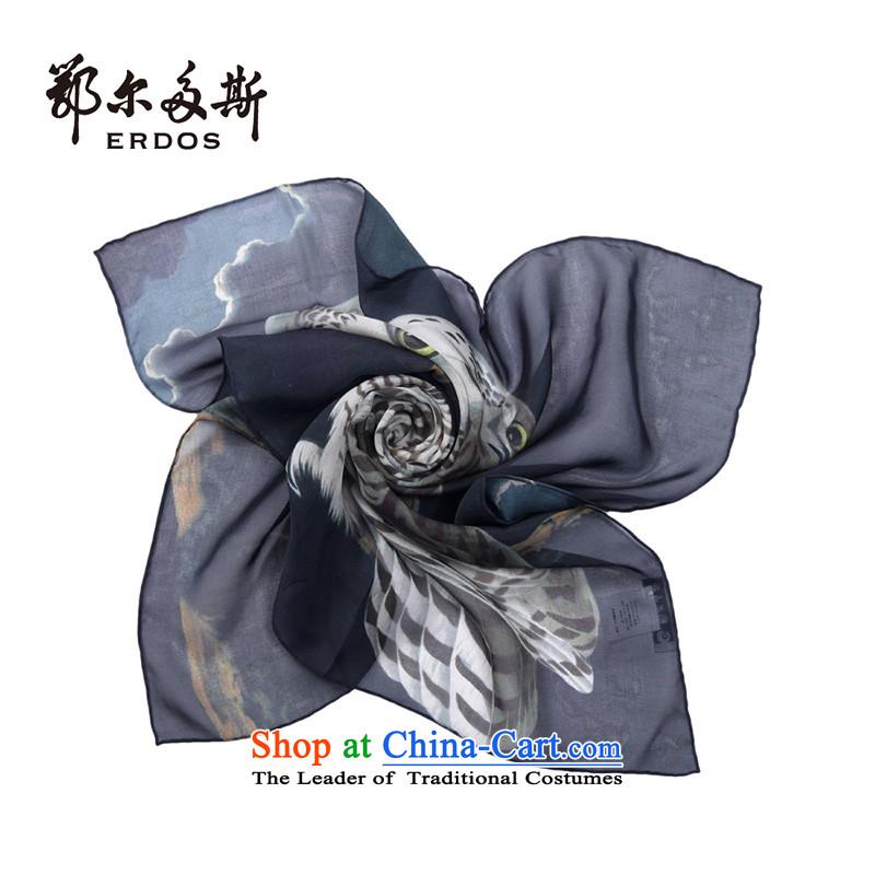 Erdos female new stylish stamp shawl scarf herbs extract Black + Brown + Black Brown